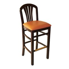 1 Lot of 24 Units - Fanback Restaurant Bar Stool with Upholstered Seat in Dark Mahogany