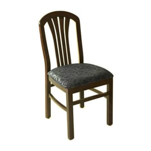 Fanback Restaurant Dining Chair with Upholstered Seat in Dark Mahogany (front)