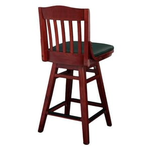 Mahogany Solid Wood Swivel Schoolhouse Bar Stool with Upholstered Seat