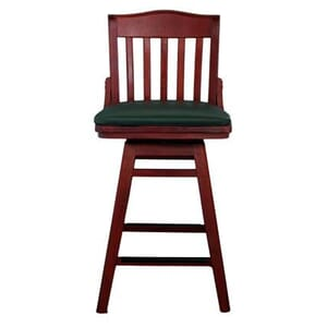 Mahogany Solid Wood Swivel Schoolhouse Bar Stool with Upholstered Seat (Front)