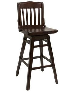 Walnut Solid Wood Swivel Schoolhouse Bar Stool