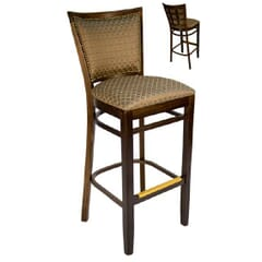 Fully Upholstered Solid Wood Restaurant Side Bar Stool with Nailhead Trim