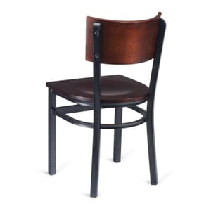 Black Metal Commercial Chair with Square Dark Mahogany