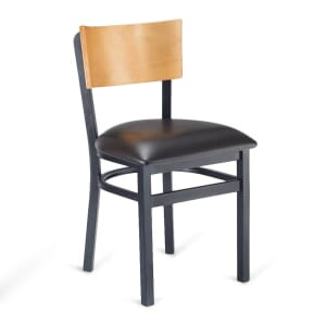 Black Metal Commercial Chair with Square Natural Veneer Seat and Back (Front)