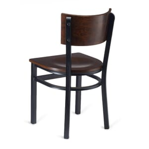 Black Metal Commercial Chair with Square Back in Walnut