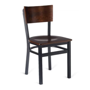Black Metal Commercial Chair with Square Walnut Veneer Seat and Back (Front)