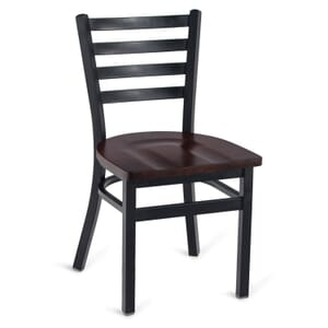 Black Steel Ladderback Restaurant Chair with Solid Beechwood Seat