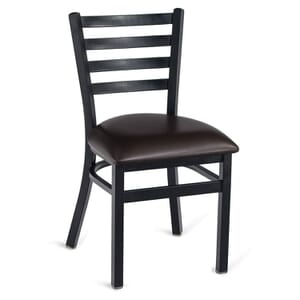 Black Steel Ladderback Restaurant Chair with Upholstered Seat