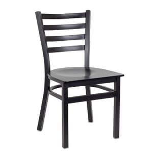 Black Steel Ladderback Restaurant Chair with Veneer Seat