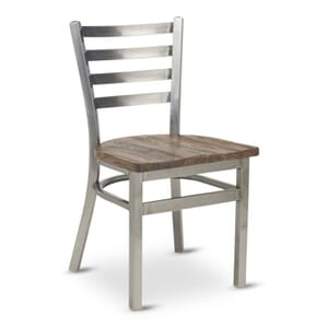 Clear Coat Distressed Finish Steel Ladderback Restaurant Chair with Reclaimed Wood Seat