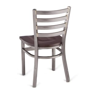 Clear Coat Distressed Finish Steel Ladderback Restaurant Chair