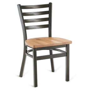 Gold-Vein Steel Ladderback Restaurant Chair with Solid Beechwood Seat