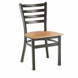 Gold-Vein Steel Ladderback Restaurant Chair with Veneer Seat
