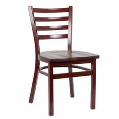 Mahogany Steel Ladderback Restaurant Chair