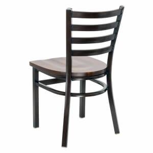 Walnut Steel Ladderback Restaurant Chair