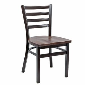 Walnut Steel Ladderback Restaurant Chair with Solid Beechwood Seat (Front)