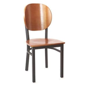 Black Metal Commercial Chair with Round Cherry Veneer Seat and Back