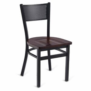 Black Steel Mesh-Back Restaurant Chair with Solid Beechwood Seat