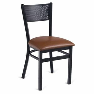 Black Steel Mesh-Back Restaurant Chair with Upholstered Seat