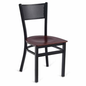 Black Steel Mesh-Back Restaurant Chair with Beechwood Veneer Seat