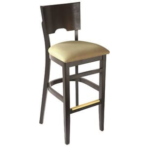 Walnut Wood Index Bar Stool with Upholstered Seat (side)