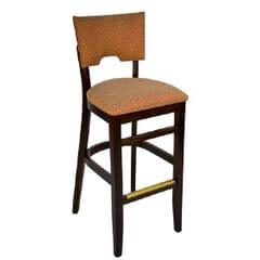 Fully Upholstered Walnut Wood Index Bar Stool
