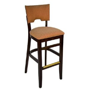 Fully Upholstered Walnut Wood Index Bar Stool (front)