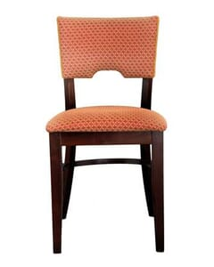 Fully Upholstered Walnut Wood Index Chair (front)