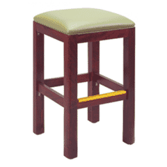 Morgan Restaurant Backless Bar Stool in Walnut with Upholstered Seat