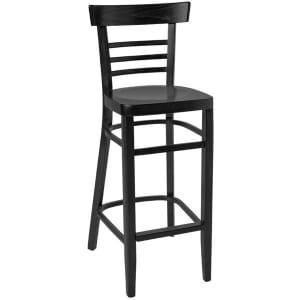 Black Wood Eco-Ladderback Commercial Bar Stool with Veneer Seat
