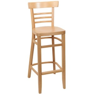 Natural Wood Eco-Ladderback Commercial Bar Stool with Veneer Seat