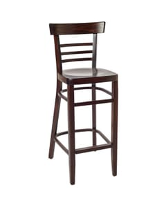 Walnut Wood Eco-Ladderback Commercial Bar Stool with Veneer Seat