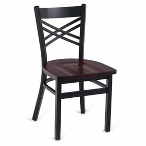 Black Metal X-Back Commercial Chair with Solid Beechwood Seat
