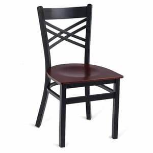 Black Metal X-Back Commercial Chair with Veneer Seat