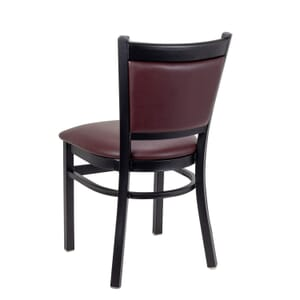 Black Steel Restaurant Chair with Upholstered Seat & Back