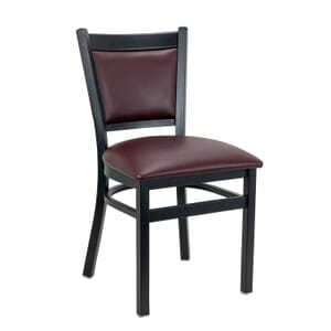 Black Steel Restaurant Chair with Burgundy Seat & Back (Front)