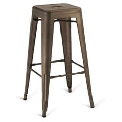 Matte Bronze Steel Eiffel Restaurant Backless Bar Stool