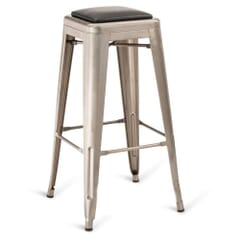 Distressed Clear Steel Eiffel Restaurant Backless Bar Stool