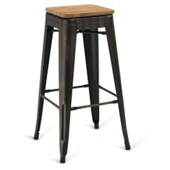 Aged Copper Steel Eiffel Restaurant Backless Bar Stool