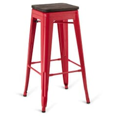 Red Steel Eiffel Restaurant Backless Bar Stool