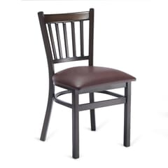 Walnut Metal Vertical-Back Commercial Chair