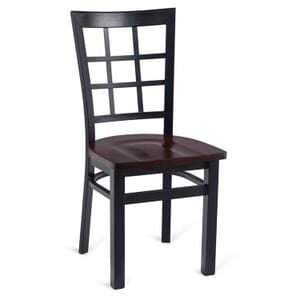 Black Steel Window-Back Restaurant Chair with Solid Beechwood Seat