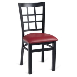 Black Steel Window-Back Restaurant Chair with Upholstered Seat