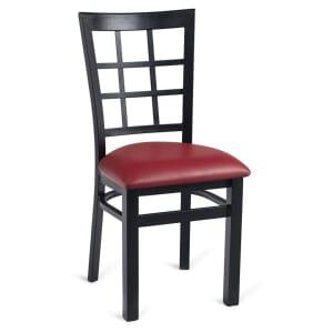 Black Steel Window-Back Restaurant Chair