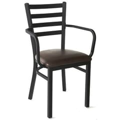 Upholstered Black Steel Ladderback Restaurant Chair with Arms