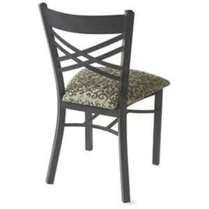 Stackable Black Metal X-Back Commercial Chair with Upholstered Seat