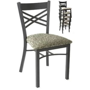 Stackable Black Metal Double Cross Back Chair (Side)