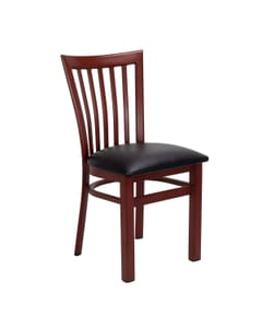 Mahogany Steel Vertical-Back Restaurant Chair with Wood Veneer Seat (Front)