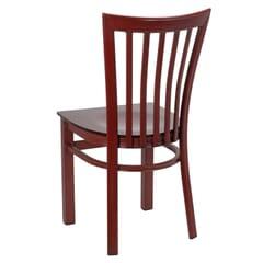 Mahogany Steel Vertical-Back Restaurant Chair
