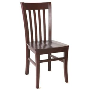 Dark Mahogany Curved Back Commercial Chair With Upholstered Seat (Front)